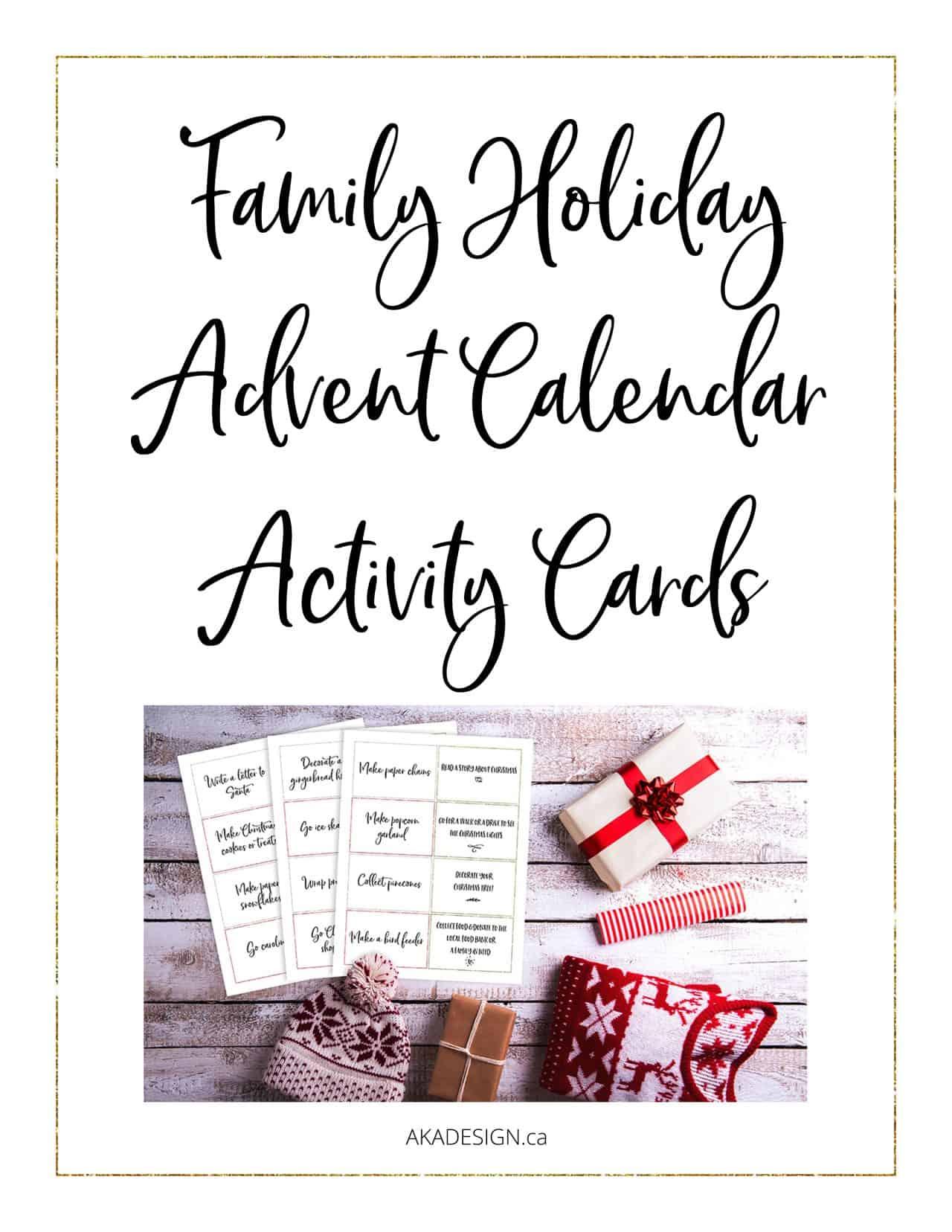 family holiday advent calendar activity cards