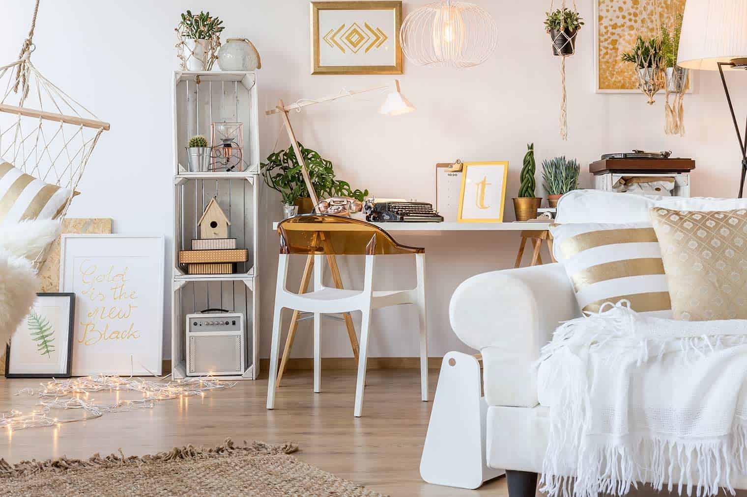 scandi room, white, boho