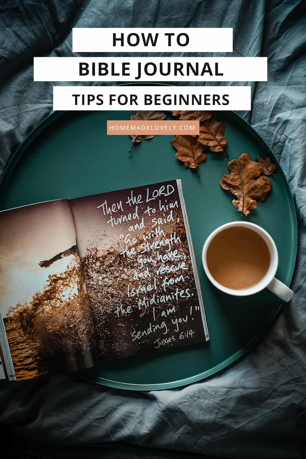 bible with illustration on a tray with text overlay how to bible journal