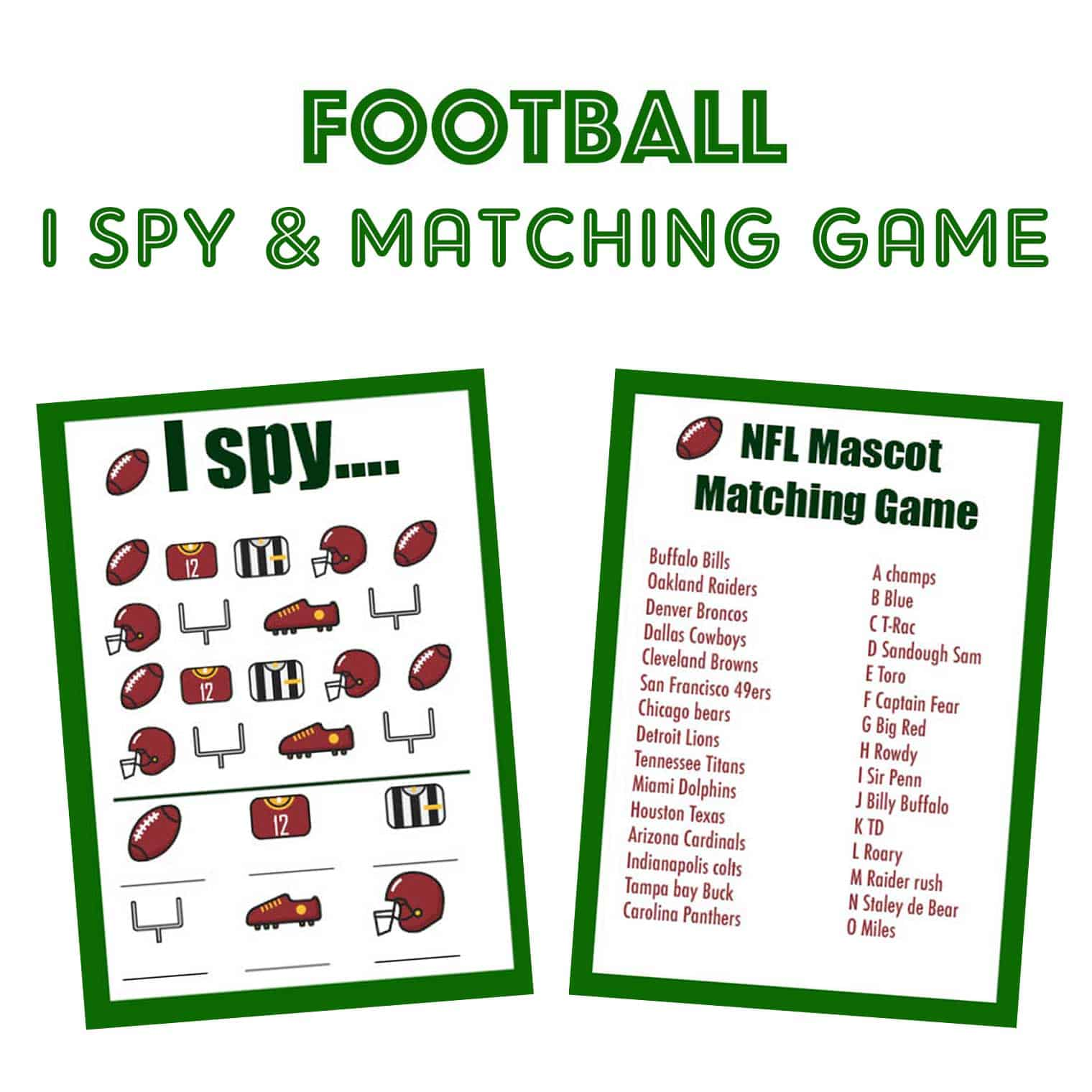 Football I Spy and NHL Mascot Matching Game