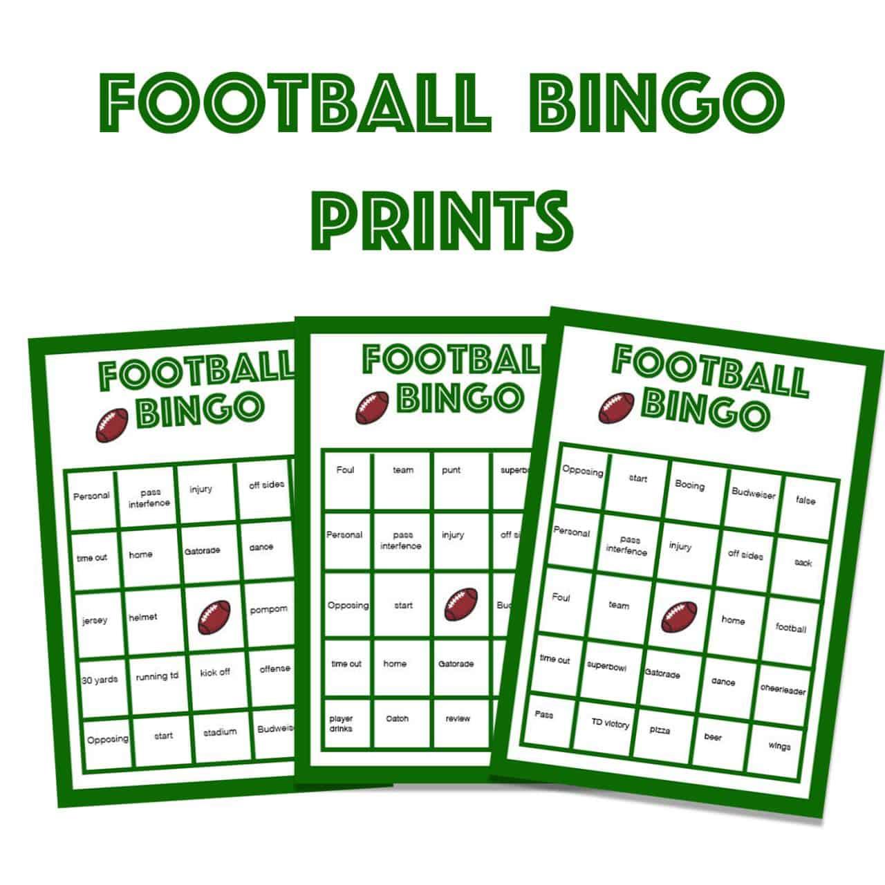 printable football bingo game