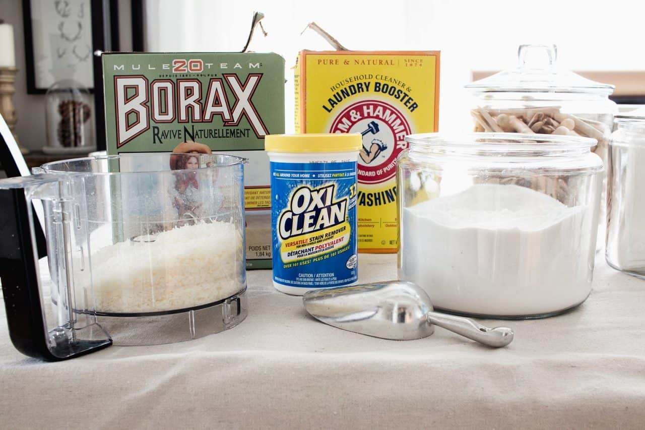 borax box, super washing soda box, oxy clean, scoop, laundry soap