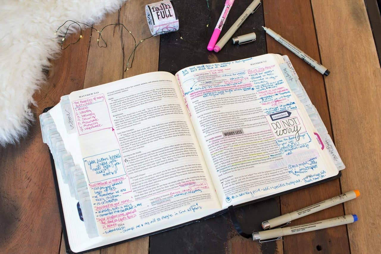 sample bible journal page with multi-colored pens