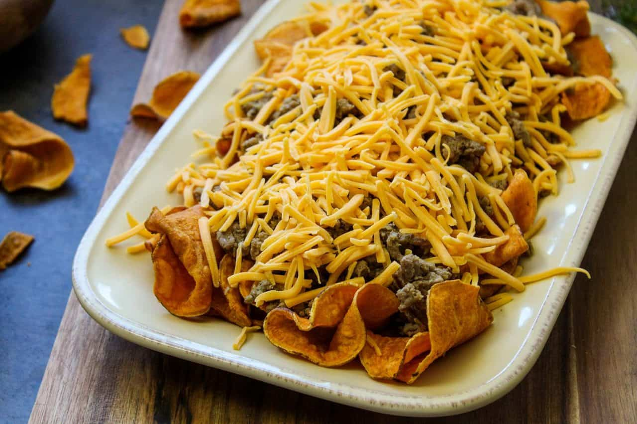 layering sweet potato nachos