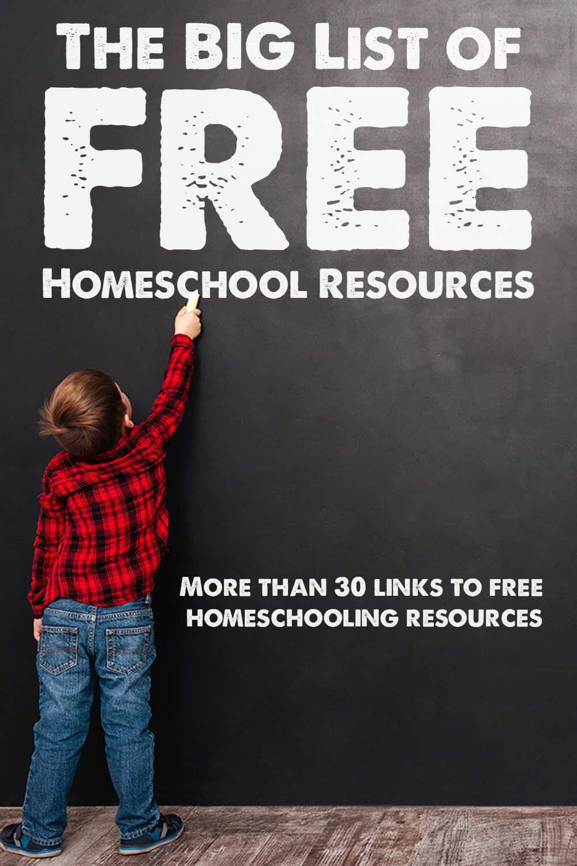 boy at chalkboard, free homeschool resources