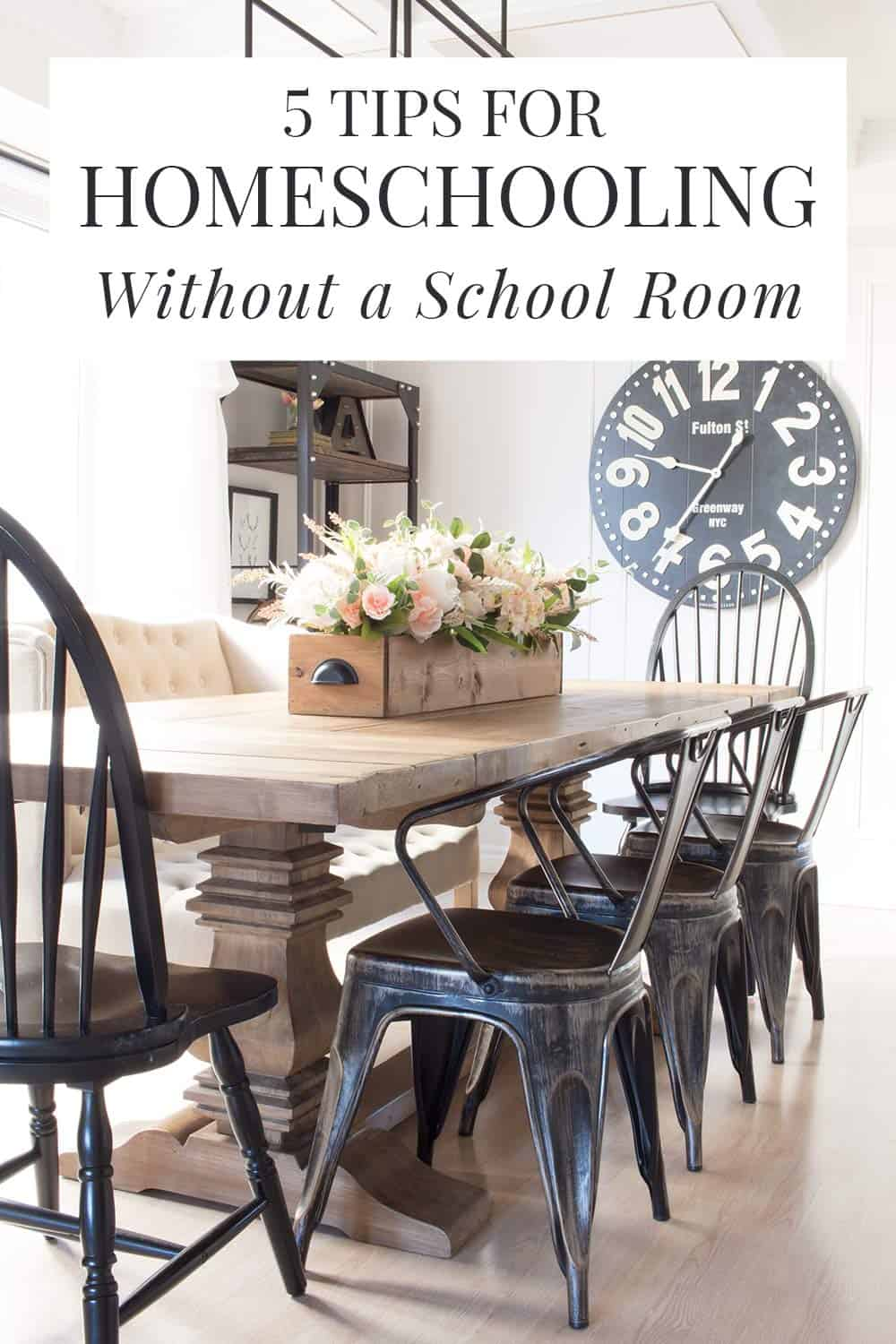 dining room school room - homeschooling without a school room text overlay