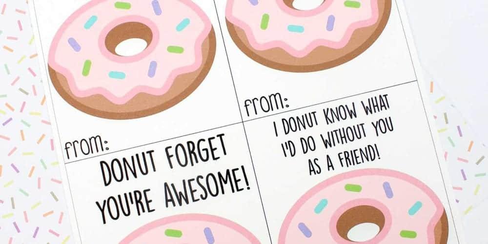 Free printable donut Valentine's Day cards