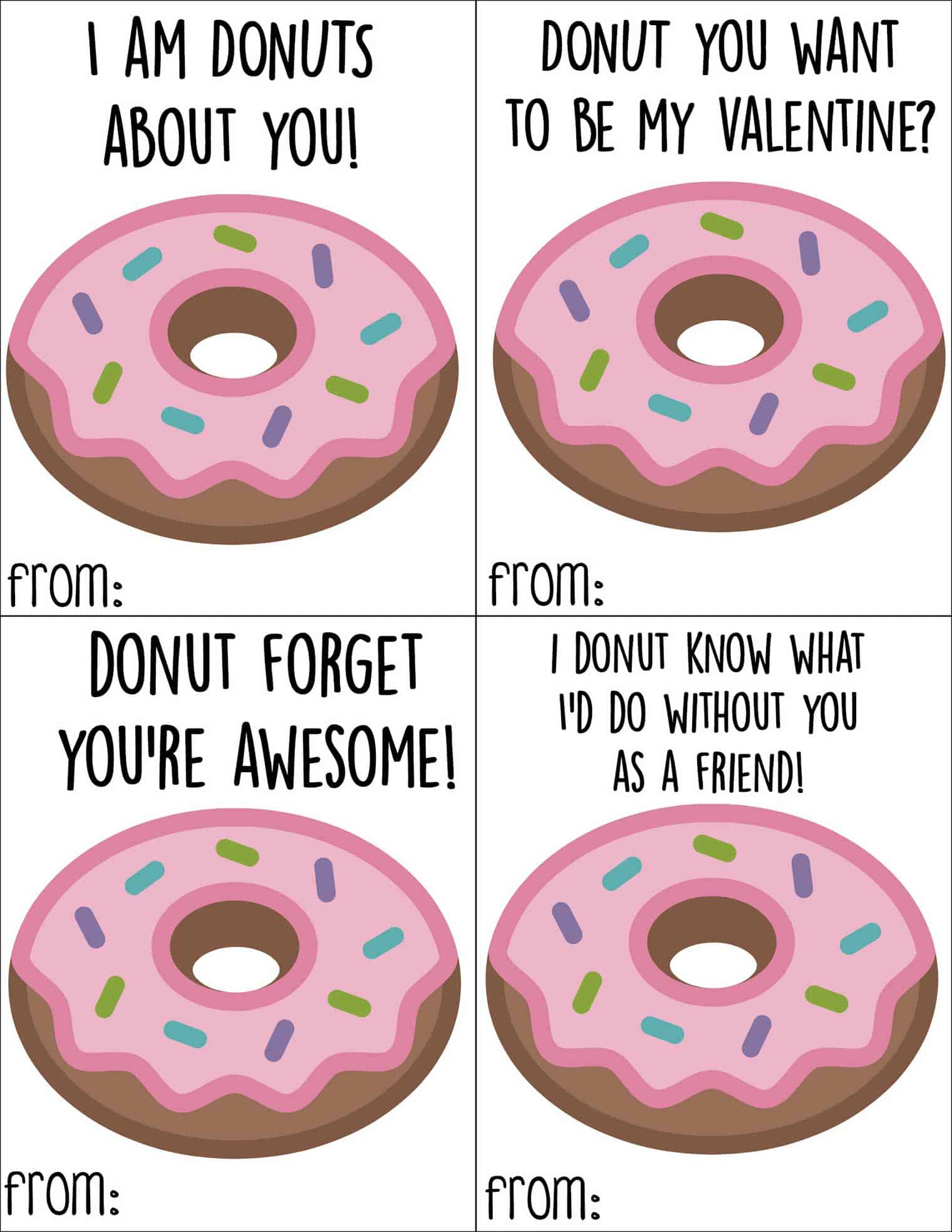 Free printable donut Valentine's Day cards