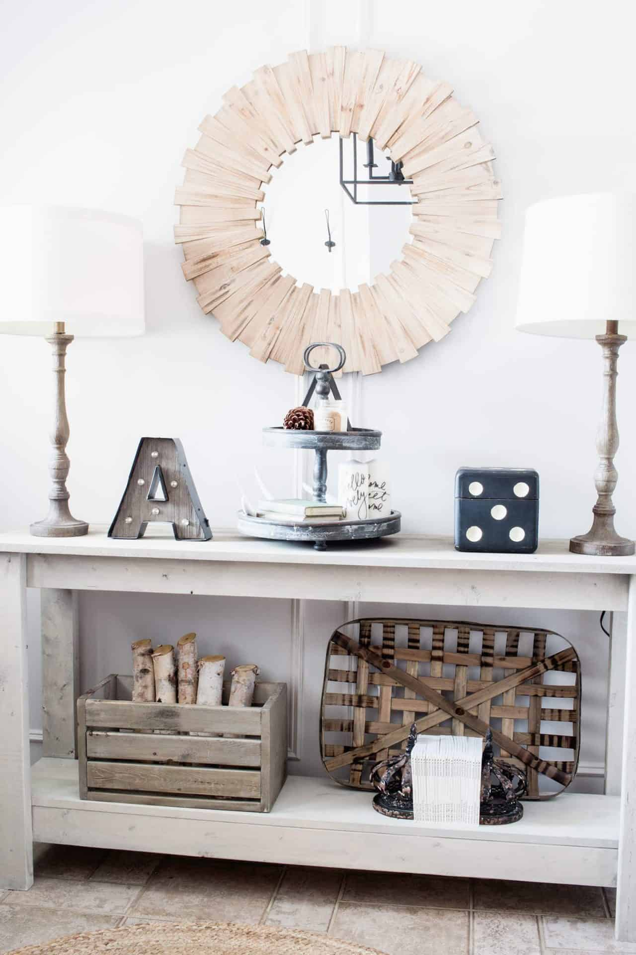farmhouse style entryway table