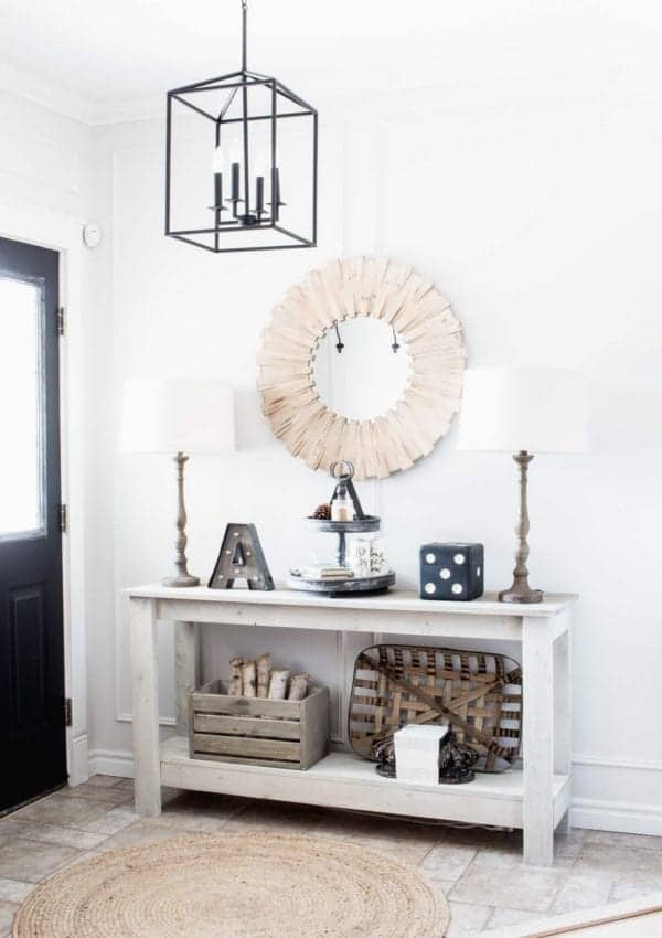 Our Farmhouse Style Entry and Dining Room with Refined Rustic Decor Pieces from Lowe's