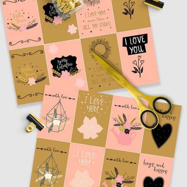Free printable farmhouse Valentine's Day cards, scissors on desk