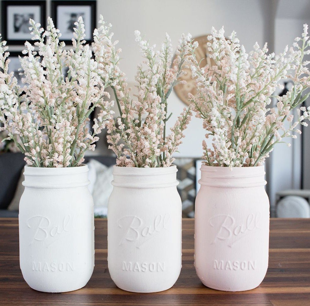 Ombre Blush Pastel Painted Mason Jar Vases on wood counters