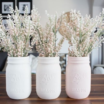 Ombre Blush Pastel Painted Mason Jar Vases