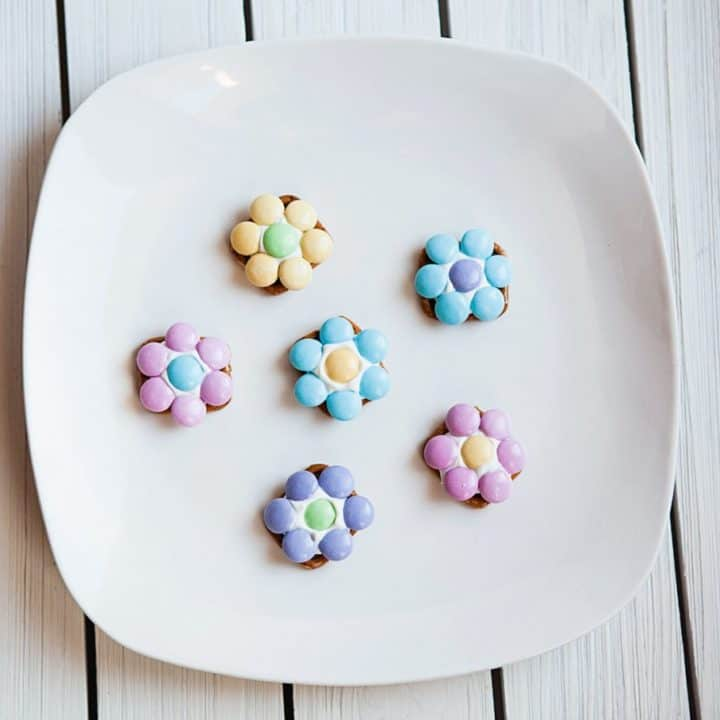 flower pretzel bites all finished on white plate