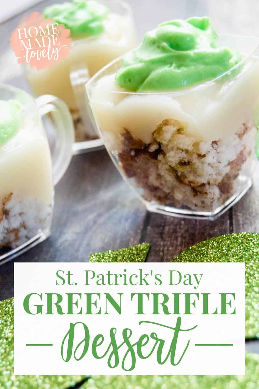 Make a pretty and yummy St. Patrick's Day Green Trifle Dessert!