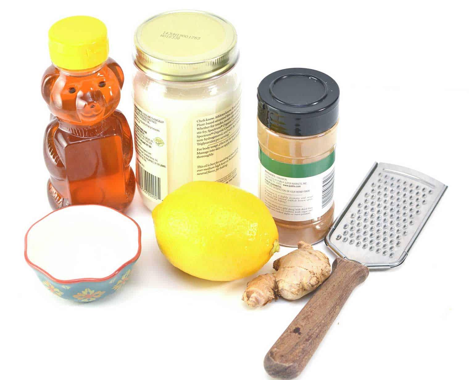 honey, coconut oil, ginger, lemon to make homemade cough syrup