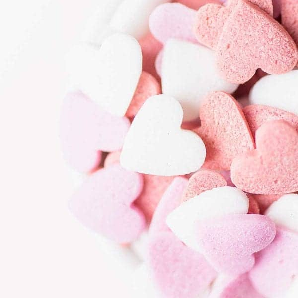 pink, purple white candy hearts