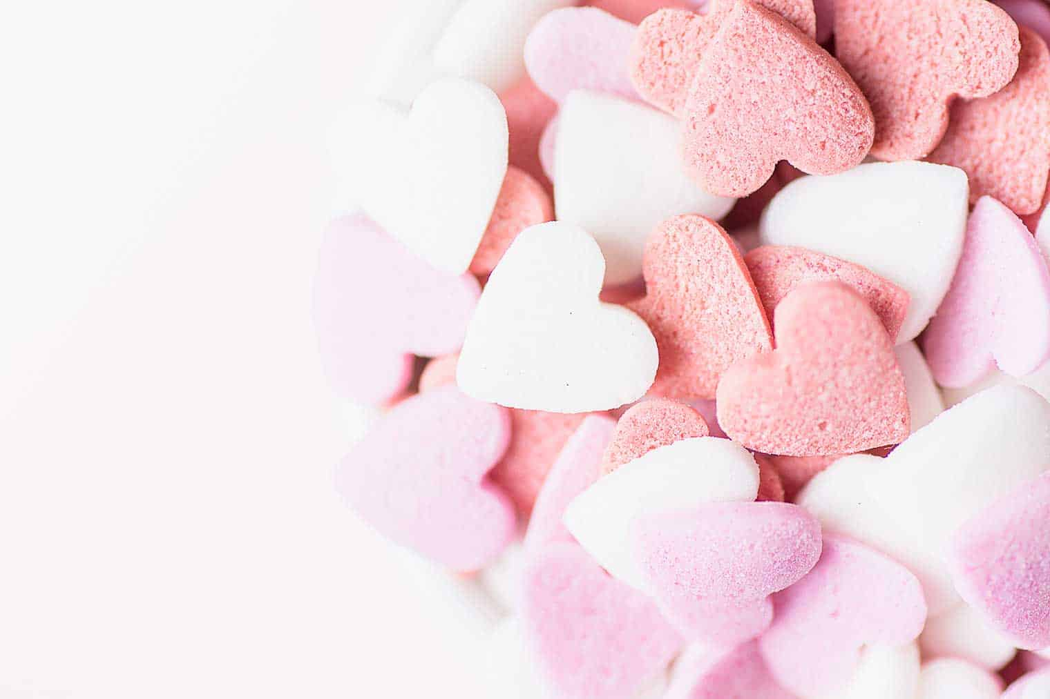pink purple white candy hearts valentines day