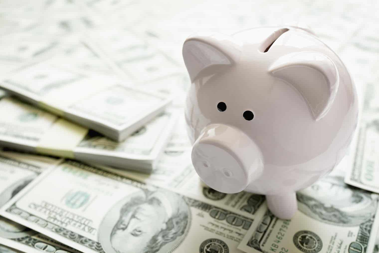 white piggy bank on money, Dave Ramsey's baby steps explained