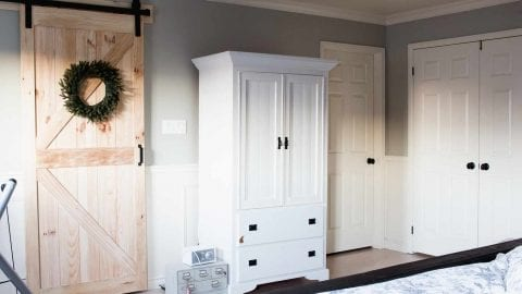 Farmhouse Master Bedroom with Analytical Grey Paint