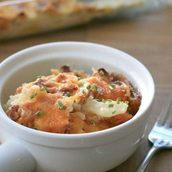 cheesy potatoes with bacon and chives