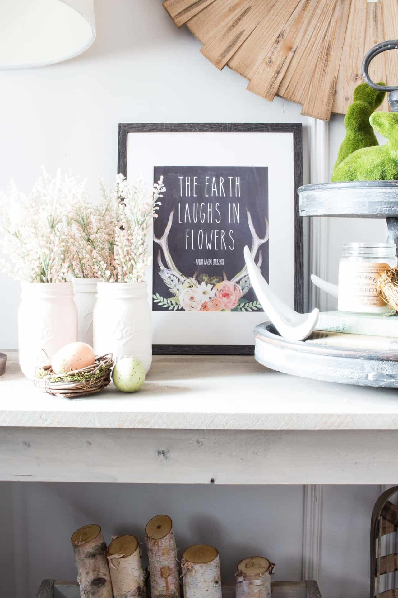 spring vignette with free printable