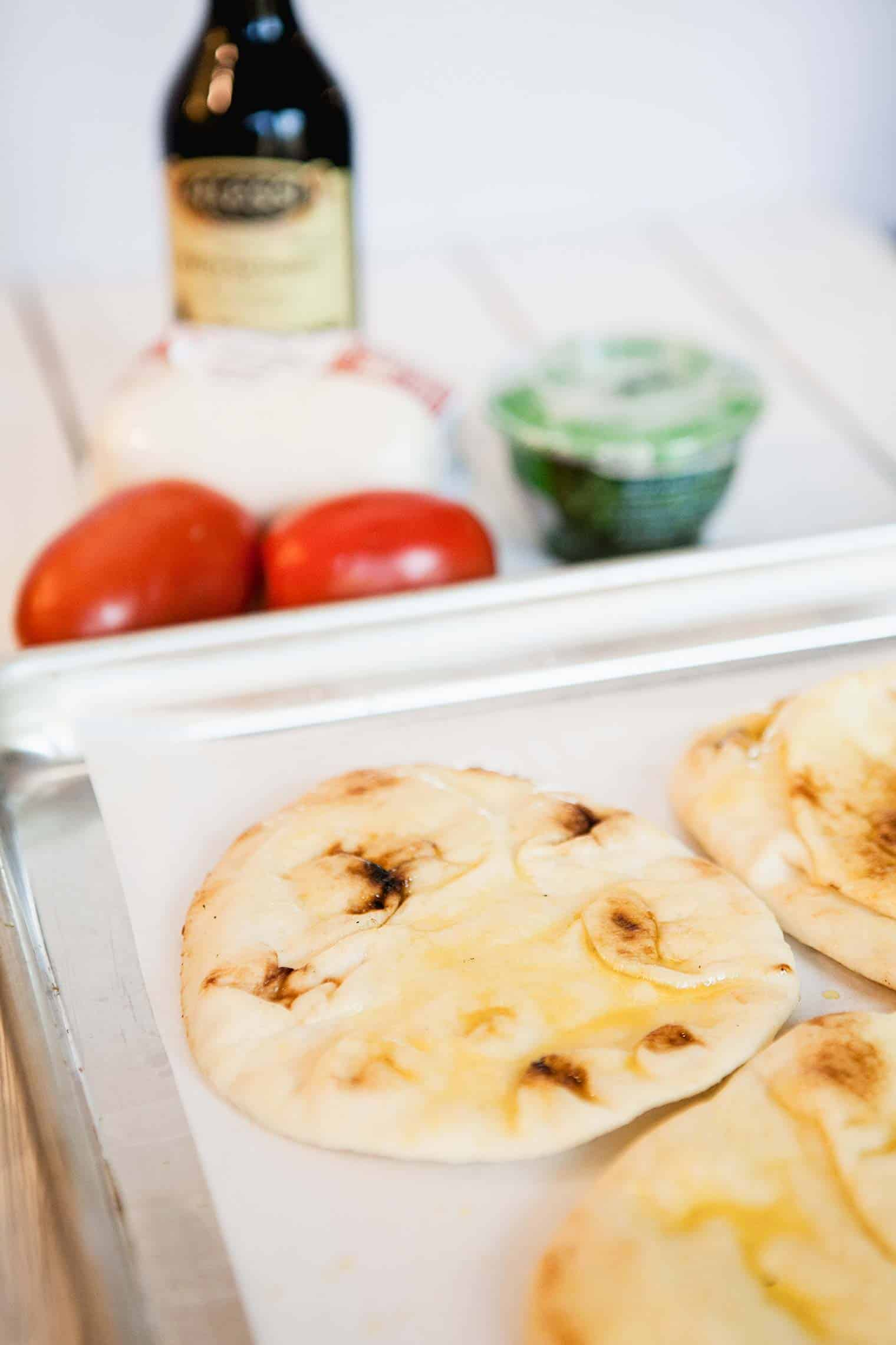 brush flat bread with oil and bake