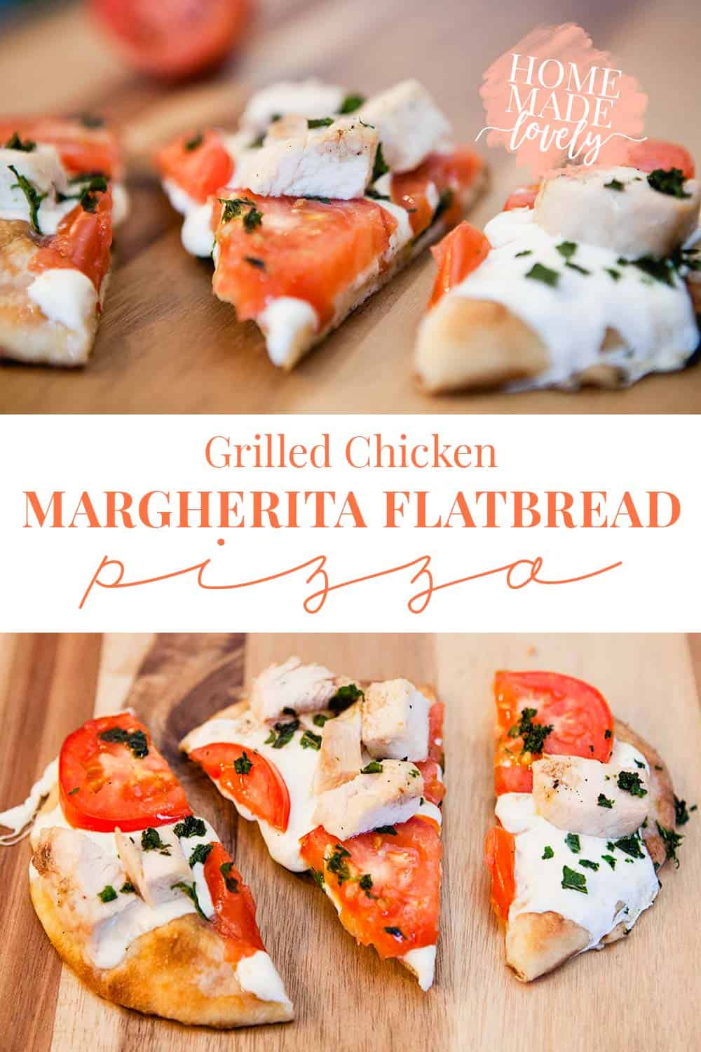 Forget the delivery! This Grilled Chicken Margherita Flatbread Pizza makes the perfect weekday lunch or even date night dinner!