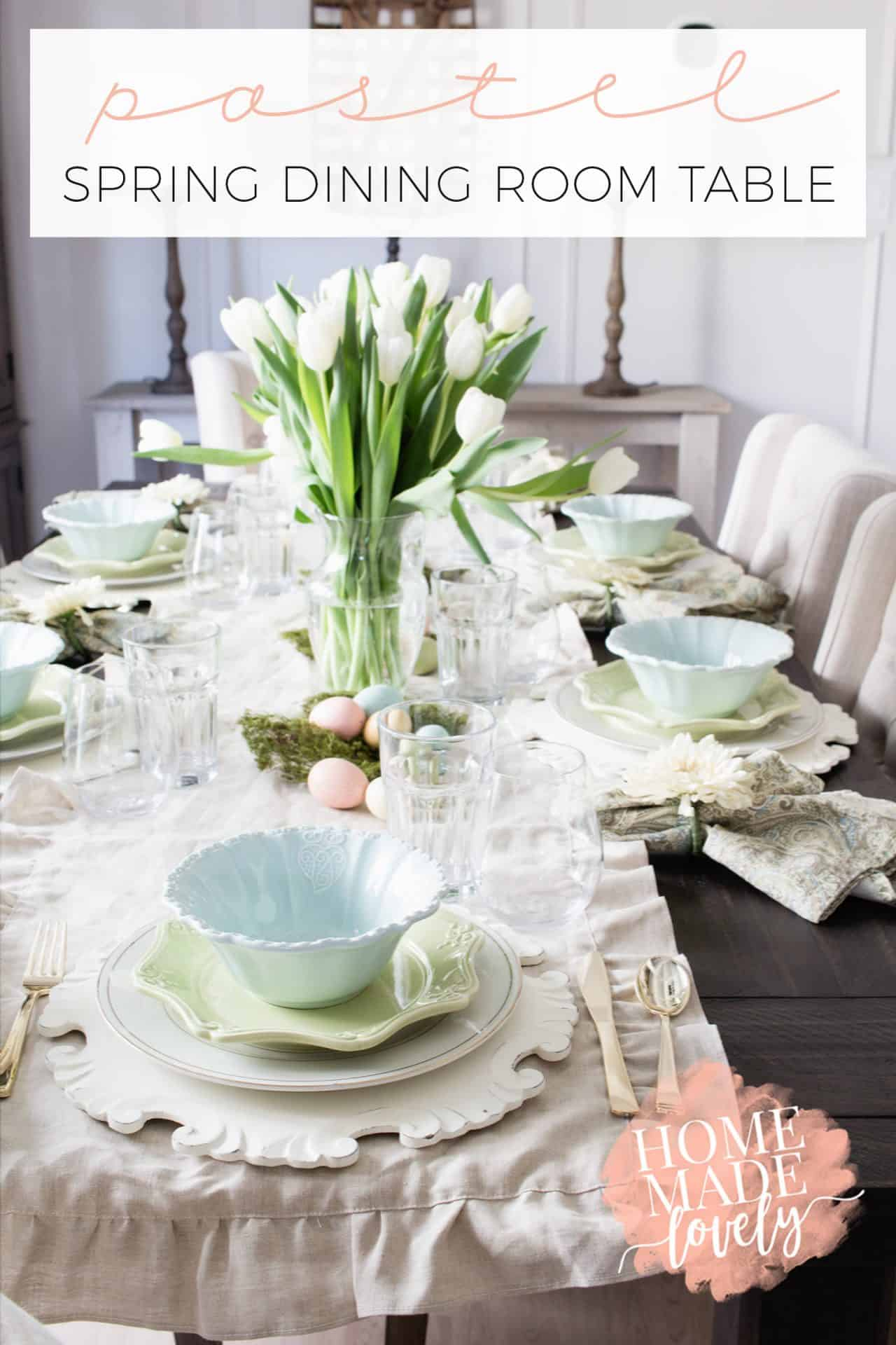 We've put together a pretty pastel spring dining room table to share with you. Plus all the resources for you to create it at your house too!