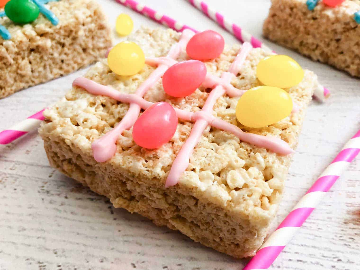 rice krispies squares with icing and jelly bean tic tac toe