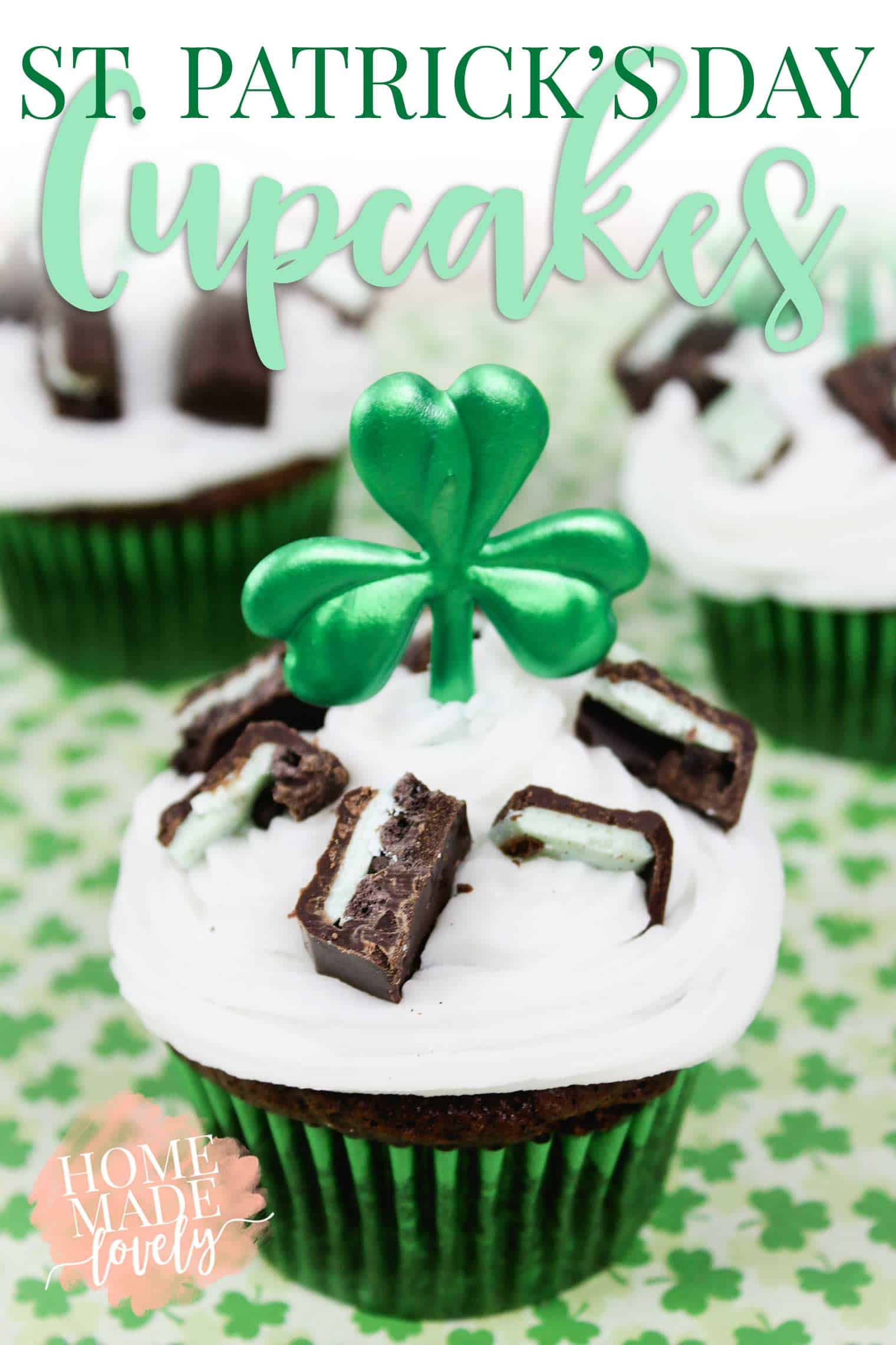 devil's food cupcakes decorated for St. Patrick's Day