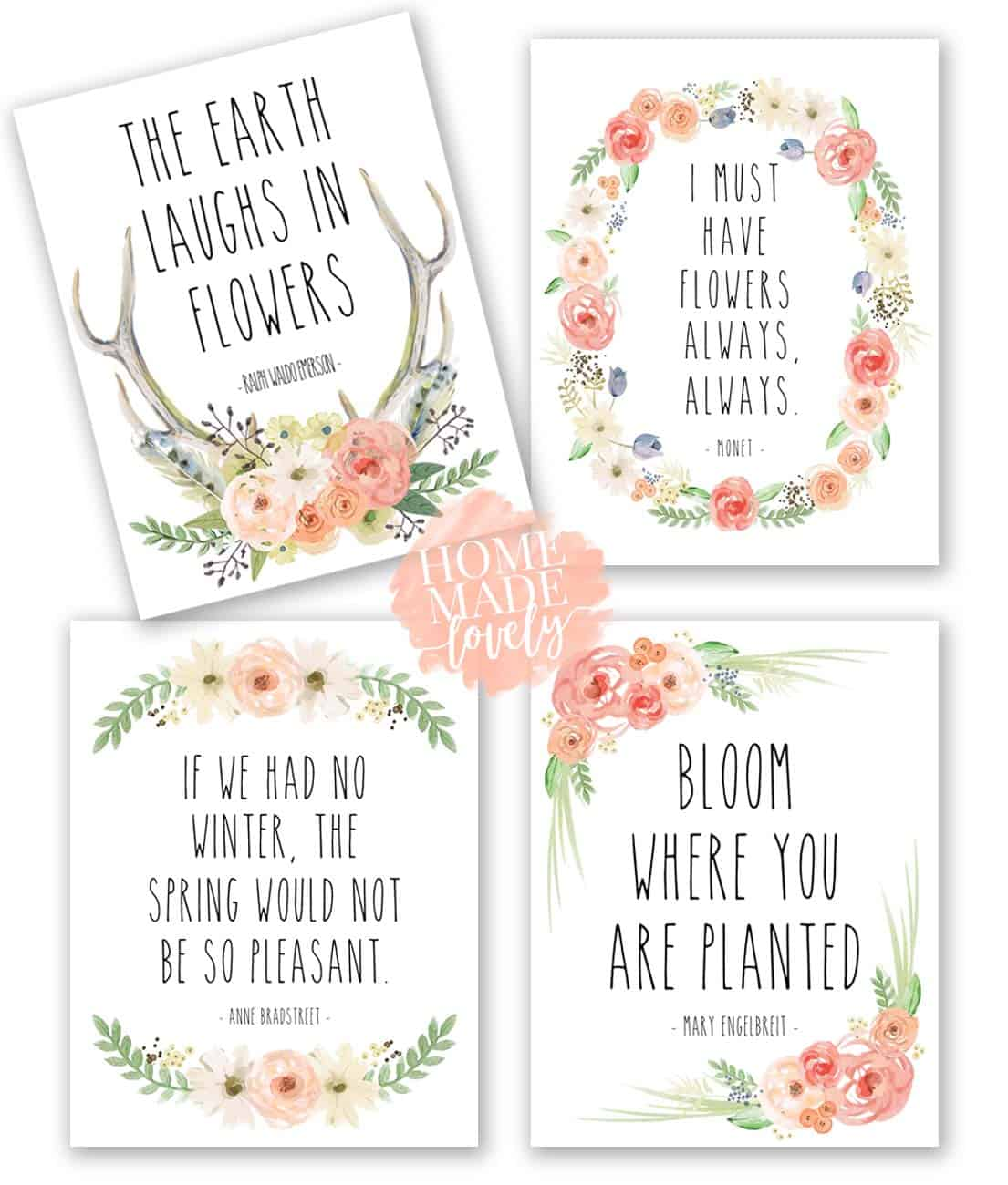 rose and white free spring printables, set of four
