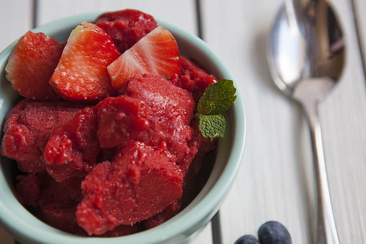 2 ingredient strawberry sorbet detail
