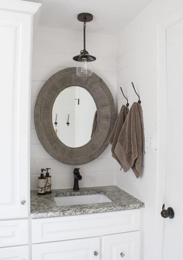Farmhouse Bathroom Makeover Reveal – Shiplap Walls, Dark Fixtures and More!