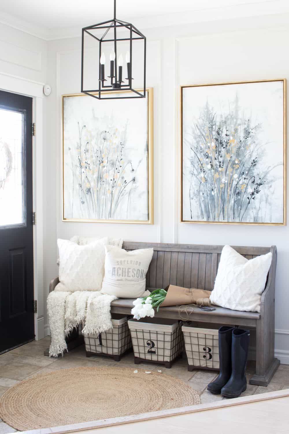 Terrific Farmhouse Entryway Makeover We Found A New Bench That Andrewgaddart Wooden Chair Designs For Living Room Andrewgaddartcom