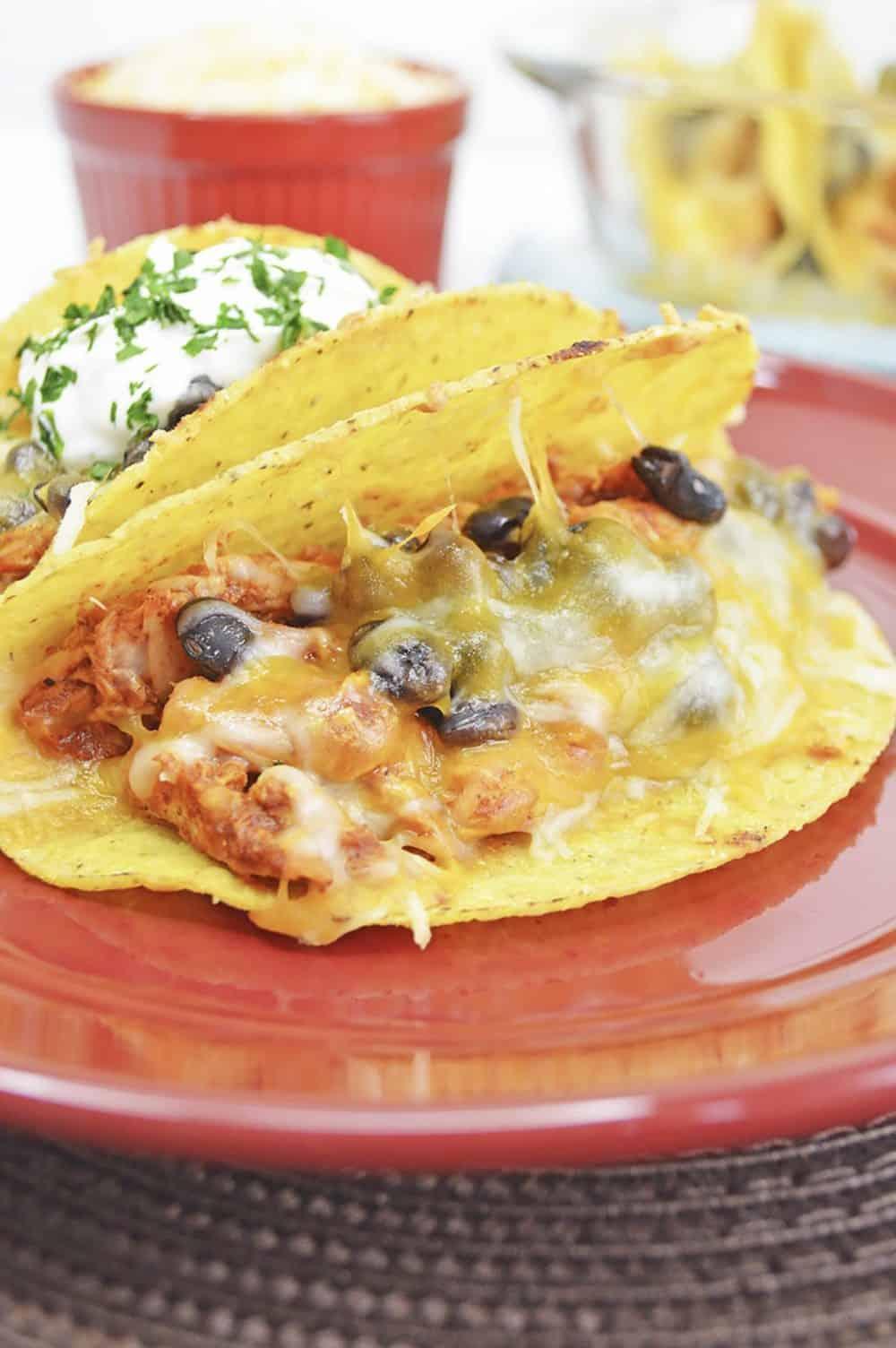 shredded chicken and black bean tacos