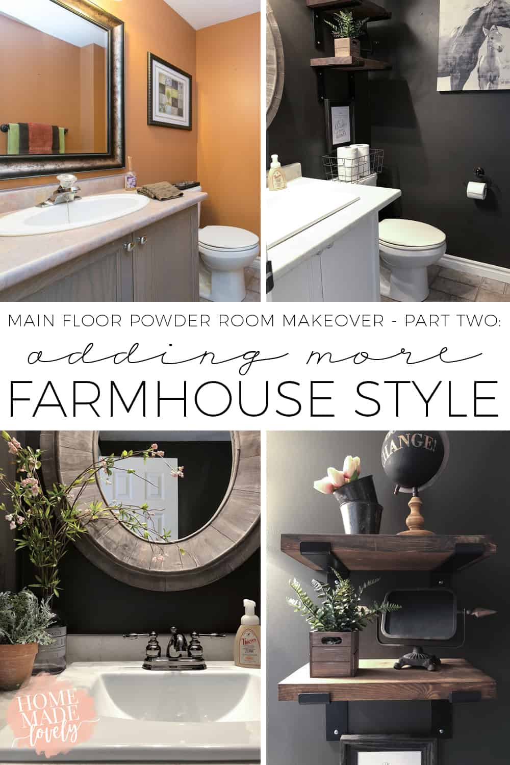 Decorating takes time. Sometimes it's not possible to give a space a whole makeover all at once. Here is our main floor powder room makeover part two, with a little more farmhouse style.