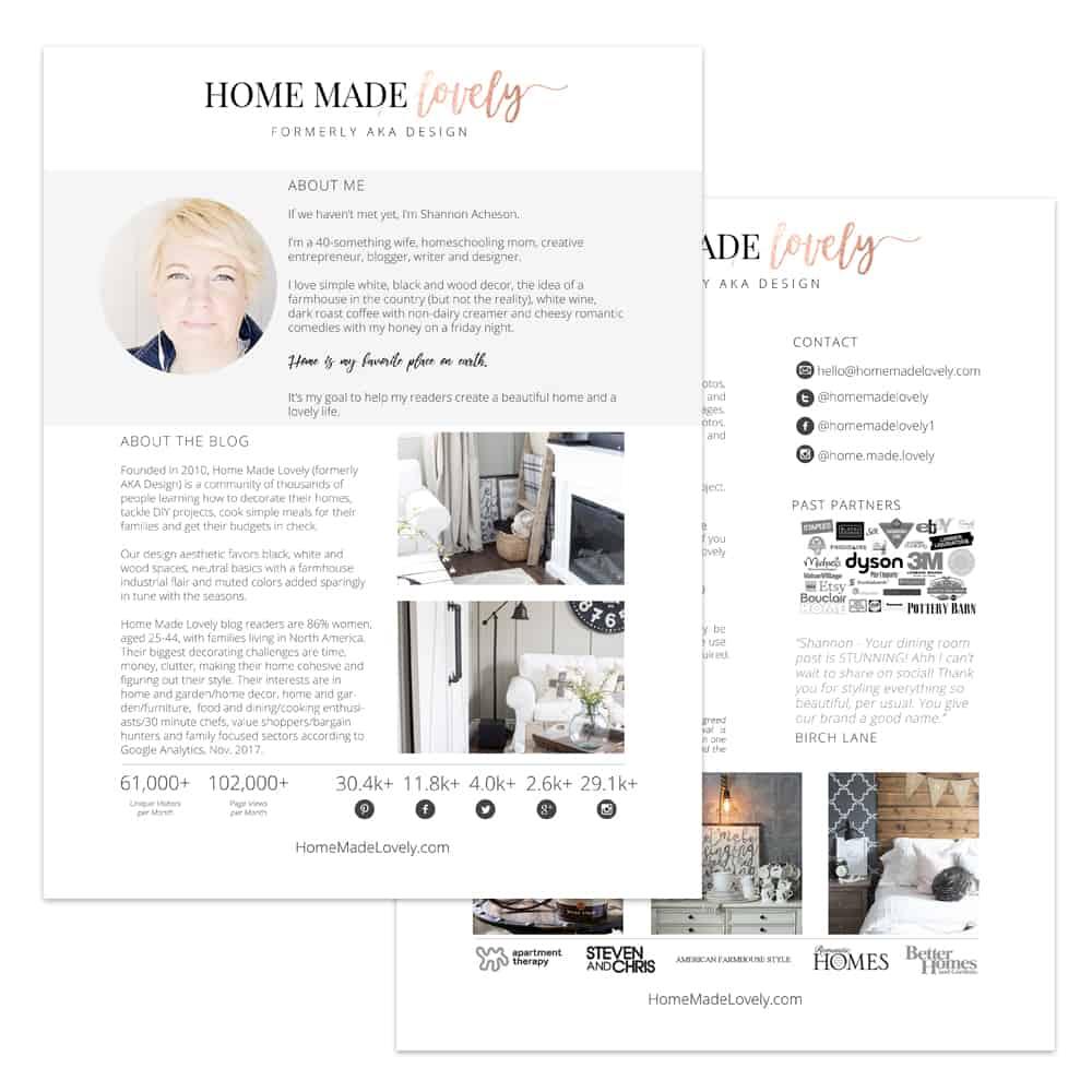 Home Made Lovely media kit for blog may
