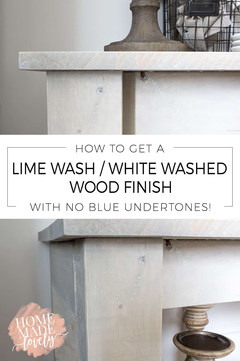 Want to get the lime wash/white washed wood finish without the blue undertones that typical store-bought pickling finish gives? Here's how to do it!
