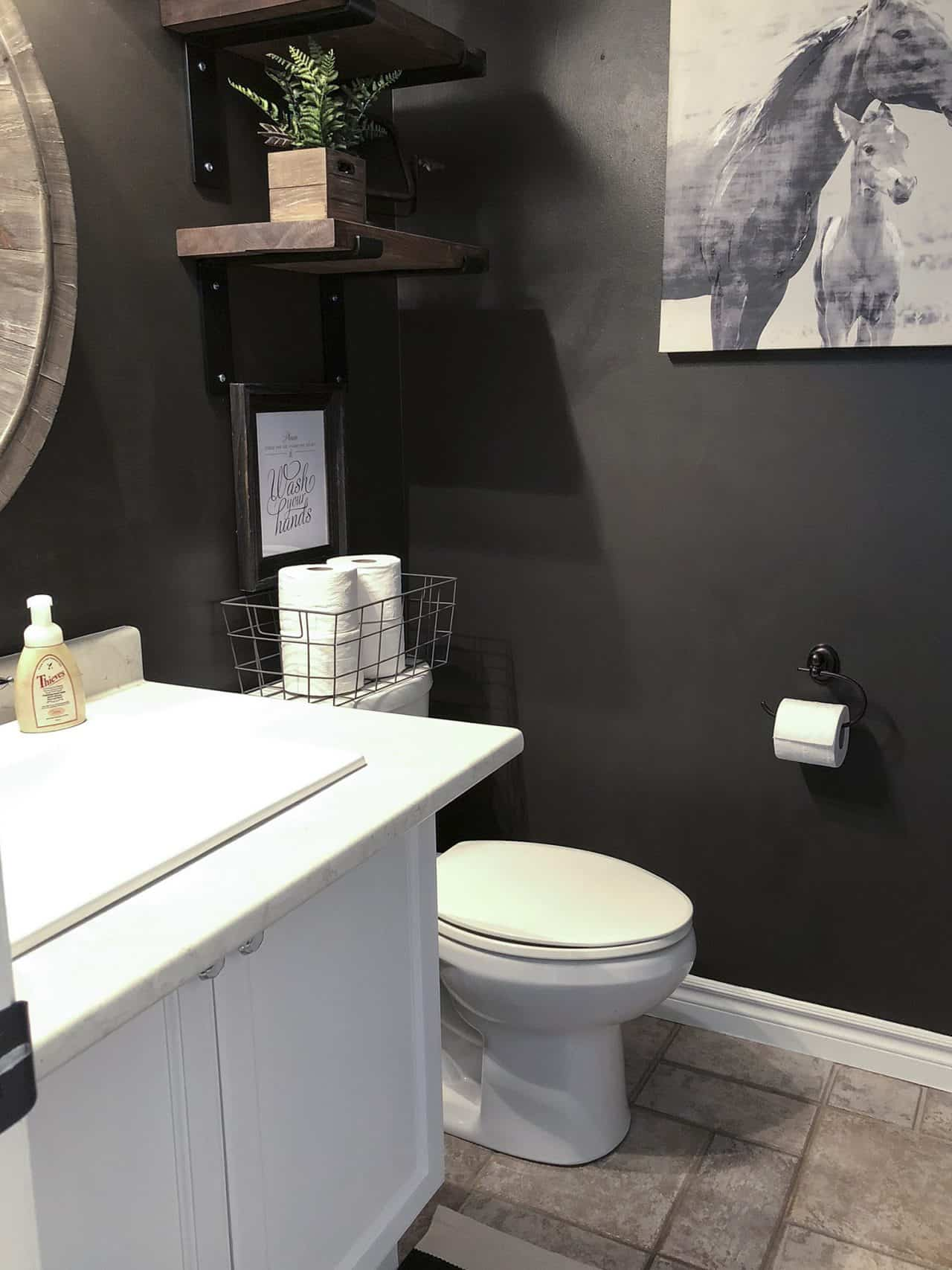black farmhouse powder room