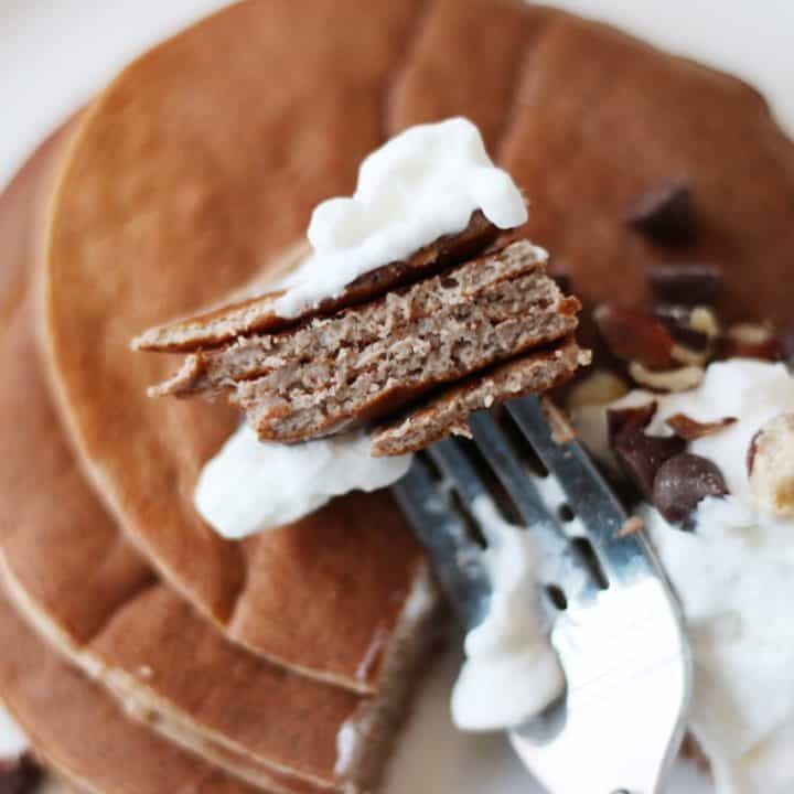 Start your day well with these chocolate protein pancakes for breakfast. Full of flavor, low in carbs, high in protein, these make a great snack too.
