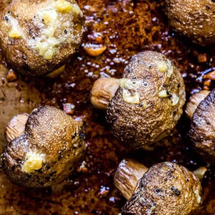 garlic roasted mushrooms on a pan
