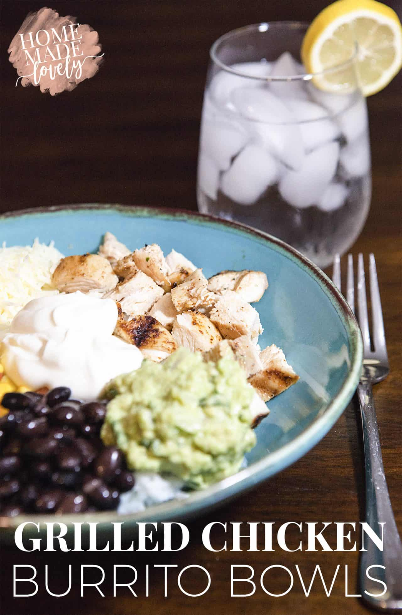 Make these grilled chicken burrito bowls with dairy or with non-dairy substitutes and enjoy a delish and fun lunch or dinner on the patio!