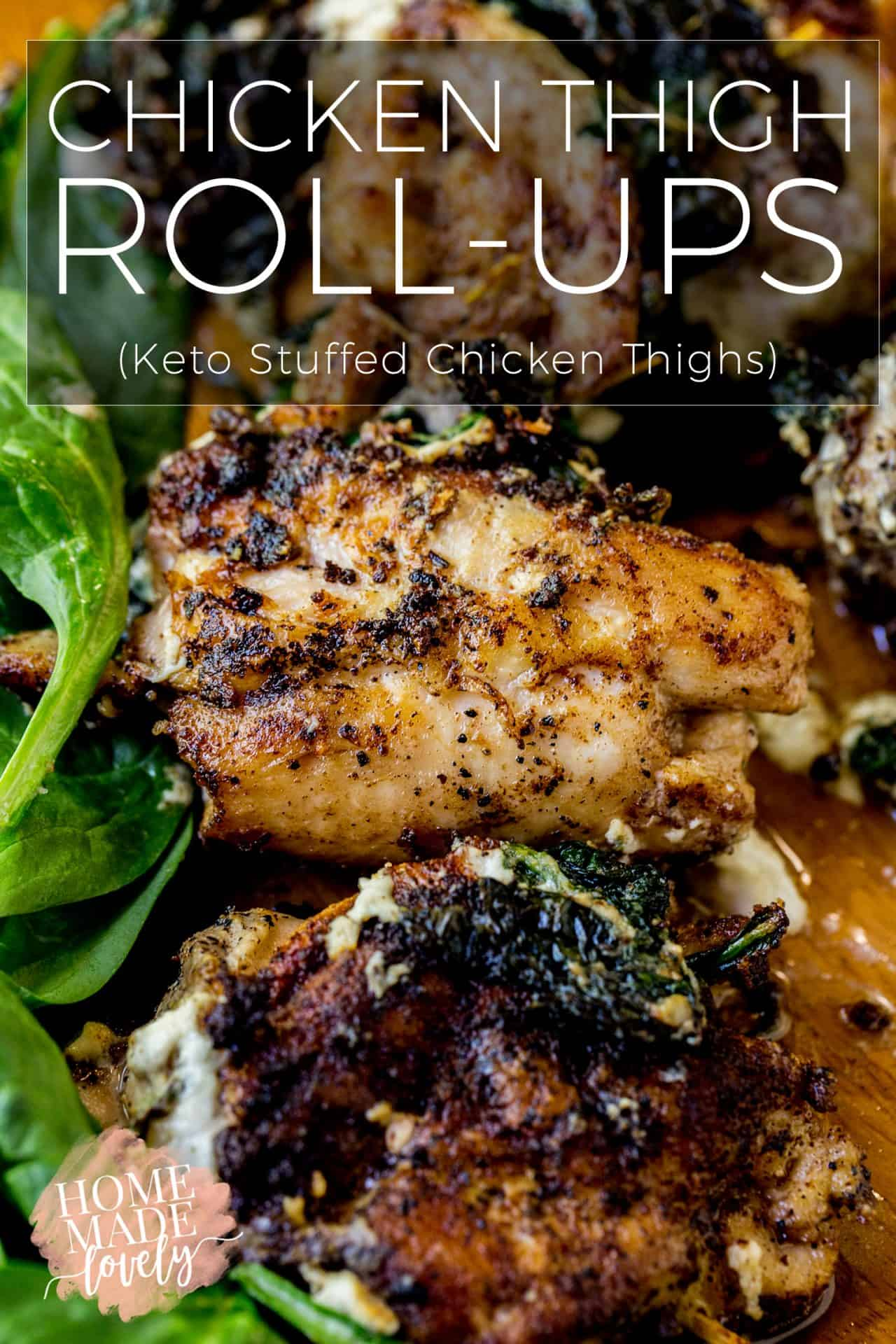 These Keto-friendly, chicken thigh roll-ups are stuffed with spinach and cheese and can be prepped and cooked later. They're also perfect served with spinach salad or other veggies.