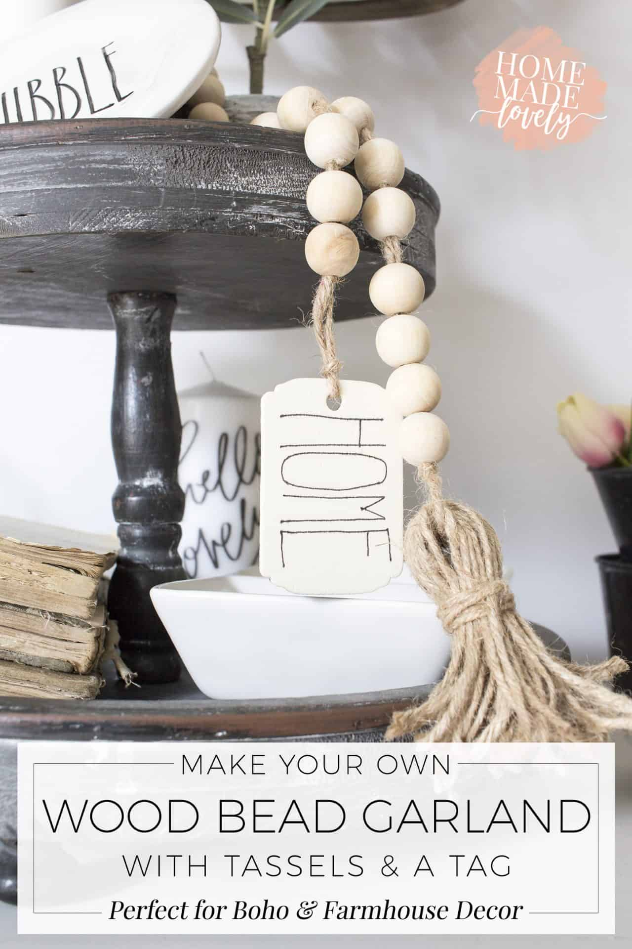 Make your own DIY wood bead garland with tassels and tag for your boho or farmhouse decorated home! The project only takes about 15 minutes!