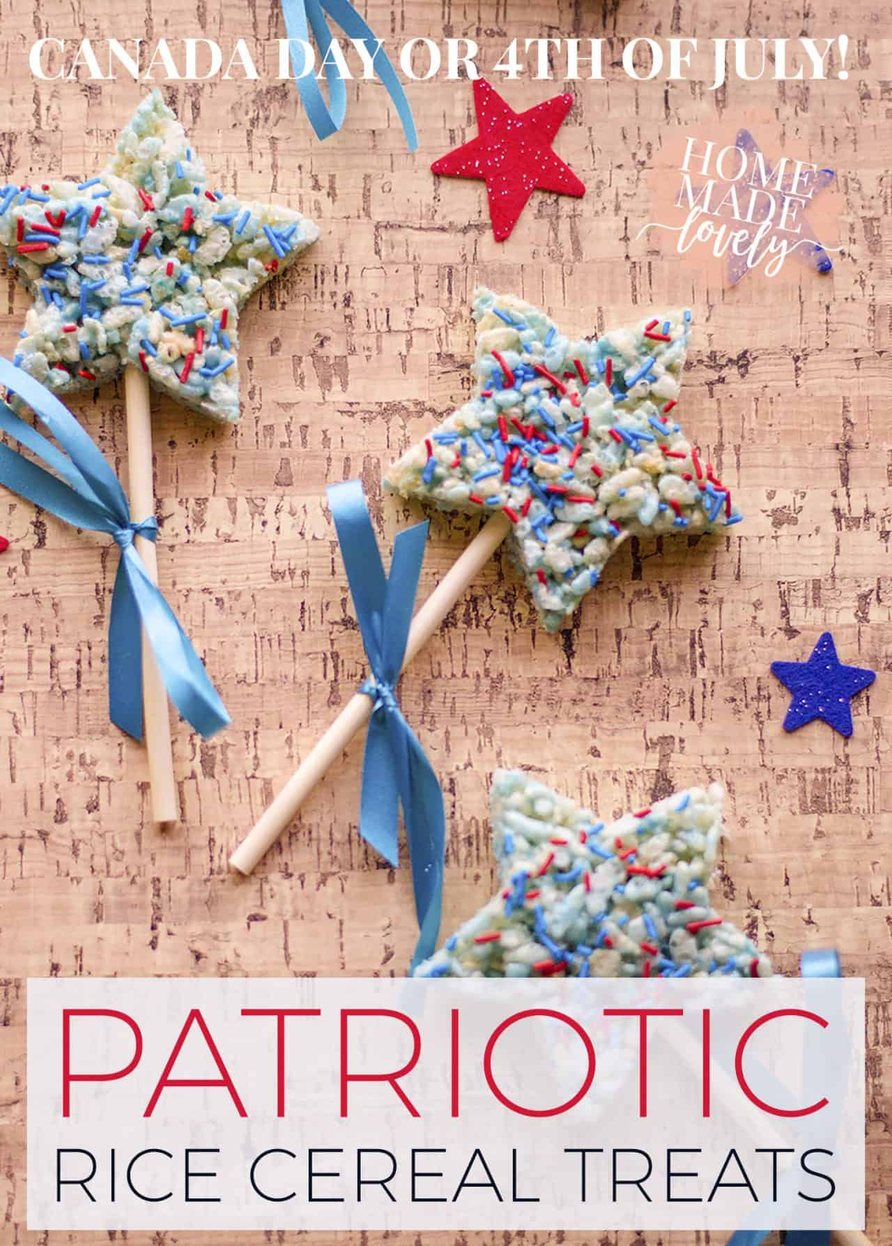 These patriotic rice cereal treats are super easy to make - and can be customized for either Canada Day or the Fourth of July just by changing the food coloring and sprinkles!