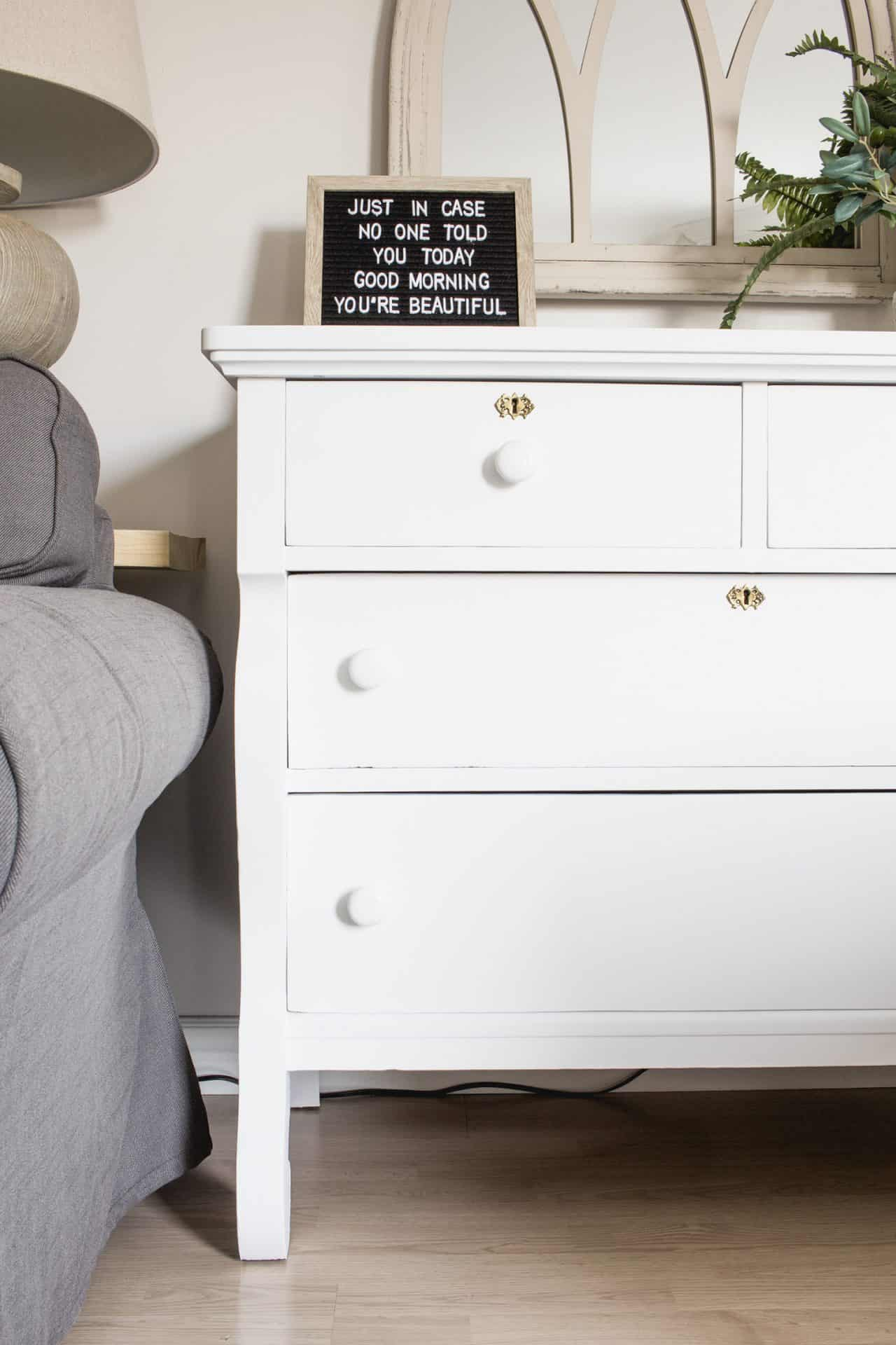 shapely dresser painted white