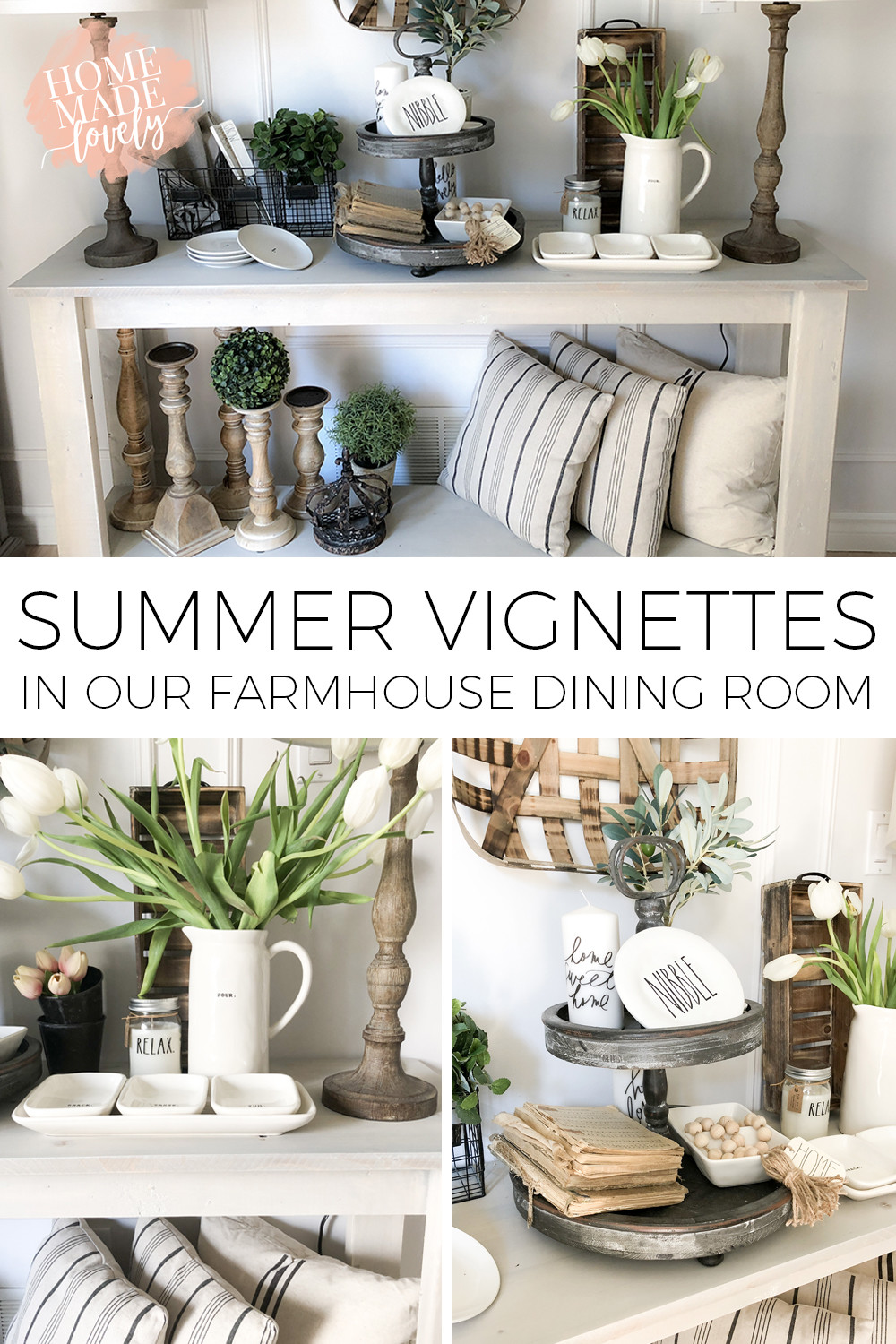 While we spend less time indoors and more time outside in the summer, it's still nice to come inside to a lovely decorated space. Here is one larger vignette broken down into a few summer vignettes in our farmhouse dining room.