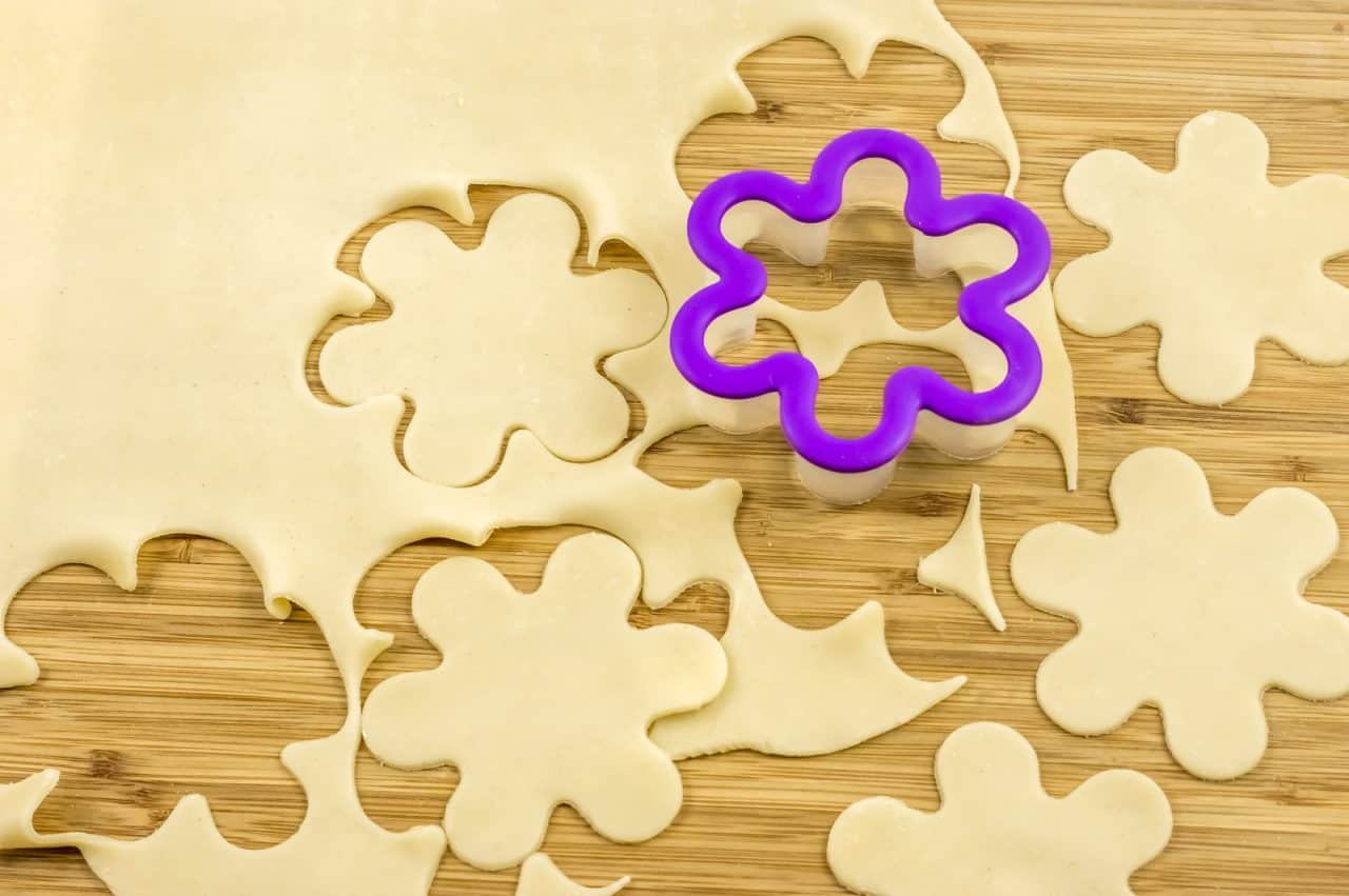 cut flower shapes from dough