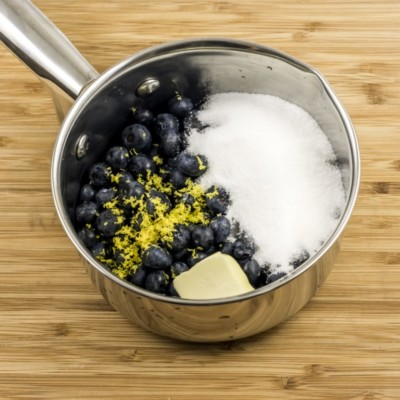 combine blueberries, etc in sauce pan